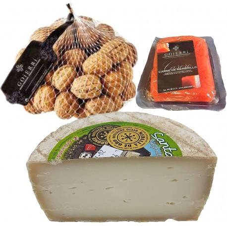 Queso con Membrillo y Nueces - Medio Queso de Oveja Curado del Pirineo Navarro - Bocaditos de queso, membrillo y nueces